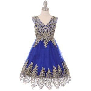 ROYAL BLUE Gold Coiled Lace Mesh Tulle Girl Dress